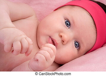 Adorable baby newborn with blue eyes - Photo of adorable...