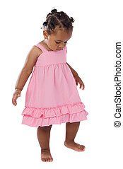 Adorable baby pink dressed a over white background