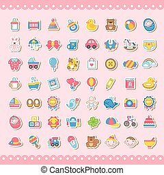 adorable baby related colorful sticker icons