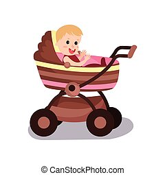 Adorable baby sitting in a modern pram, transporting of small children with comfort cartoon vector illustration