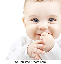 adorable baby - child, people and happiness concept -...