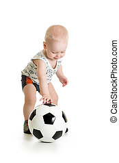 adorable baby with ball  over white background