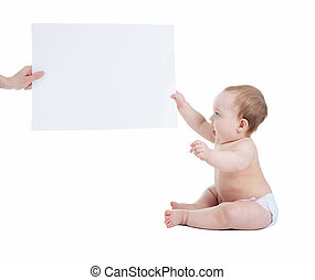 adorable baby with blank advertising banner