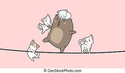 Adorable bear and 4 cats cartoon on the rope