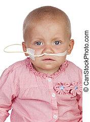 adorable, bebé, paliza, el, enfermedad
