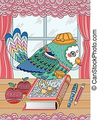 adorable bird adult coloring page