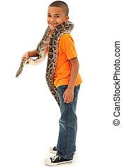 Adorable Black Boy Holding Python - Adorable Young Black Boy...
