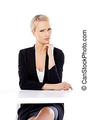 Adorable blond business woman sitting at desk she looking at...