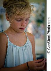 adorable blond girl portrait