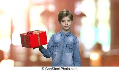 Adorable boy holding gift box.