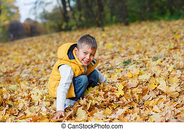 Adorable boy in autumn park