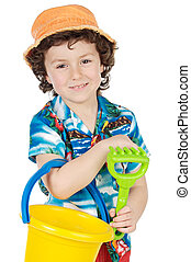 adorable boy playing in the beach over a white background