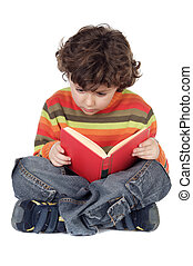 Adorable boy studying - adorable boy studying a over white...