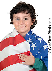 Adorable boy with american flag isolated over white