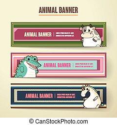 adorable cartoon animal banner collection set