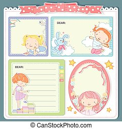 adorable cartoon style memo pad template
