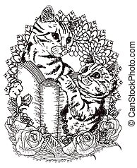 adorable cats coloring page - adorable cats with book and...