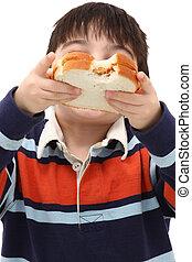 Adorable Caucasian Boy Child Eating Peanut Butter Sandwich ...