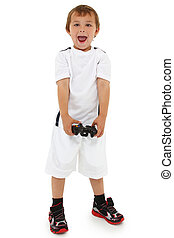 Adorable caucasian preschool boy with game controller and happy expression. Clipping path.