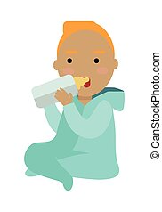 Adorable Child Drinking From Bottle Isolated