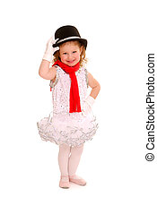 Adorable child dancer in ballet costume