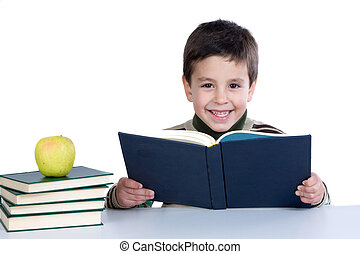 Adorable child studying with books and apple on a over white...