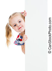 adorable child with blank advertising banner