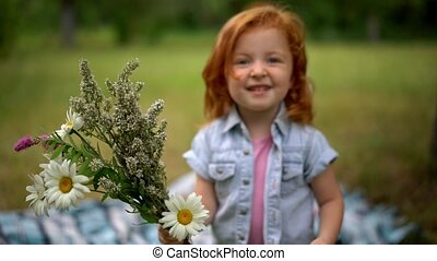 adorable child with bouquet - Adorable Child With Bouquet In...