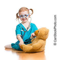 Adorable child with clothes of doctor over white