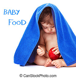 Adorable child with red apple