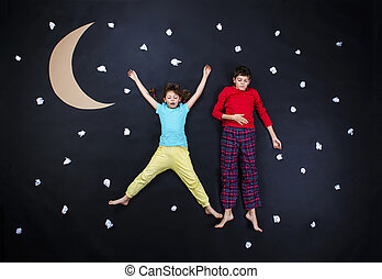 Adorable children getting ready for night sleep