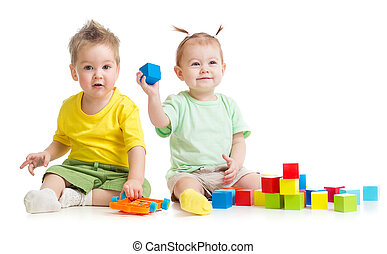 Adorable children playing colorful toys isolated on white