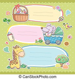 adorable colorful animals memo set with over green...