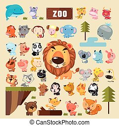 adorable, conjunto, animales, colección