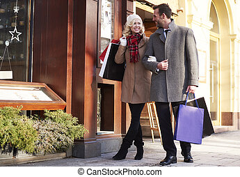 Adorable couple over shopping time
