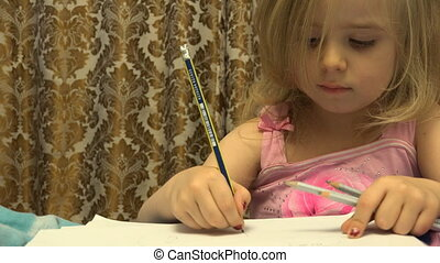 Adorable Cute Painter Girl With Pen Creates a Picture -...
