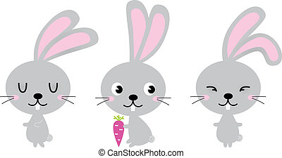 Adorable cute spring Easter Bunnies isolated on white