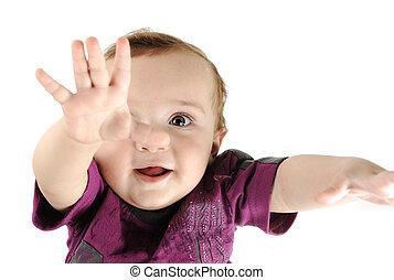 Adorable desirable baby, closeup face, portrait, hands up wants something, great for your message, copy space
