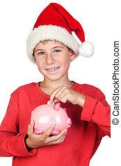 adorable, enfant, économie, à, santa chapeau