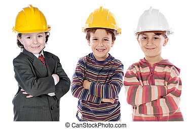 Adorable engineering team a over white background