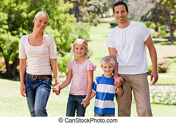 adorable, famille, dans parc