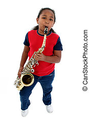 saxophone - Adorable five year old African American Girl...