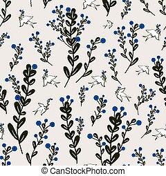 adorable, floral, seamless, patrón, con, aves, elemento