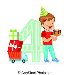 Adorable four year old boy celebrating his birthday with birthday cake, colorful cartoon character vector Illustration