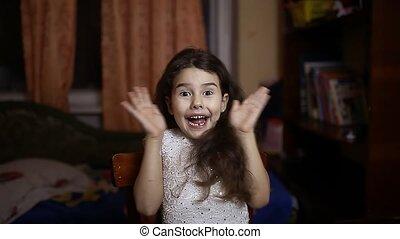 adorable, -, franc, sourire, girl, jeune, portrait., femme, ...