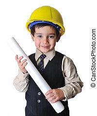 Adorable future architect over a white background