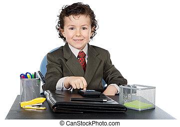 adorable, futuro, hombre de negocios, en, su, oficina