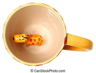 Adorable Giraffe Coffee Mug Top View Ceramic Painted Giraffe Isolated
