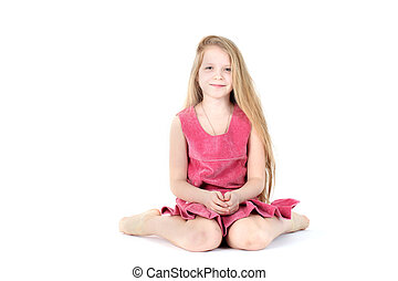 adorable girl 9 year old on white background