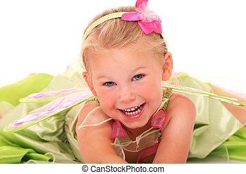 A portrait of an adorable little girl smiling over white background